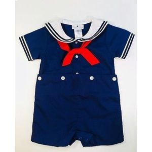 Petit Ami Sailor Romper 6 Months Blue Red Collar